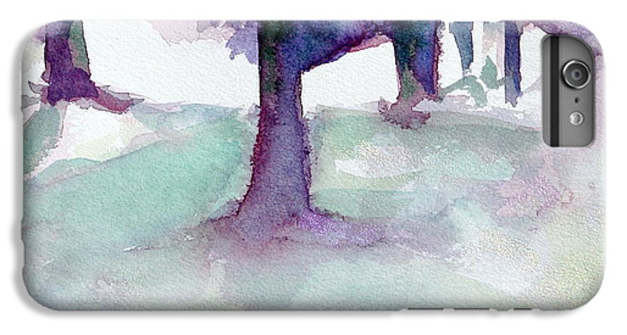Landscape IPhone 7 Plus Case featuring the painting Purplescape II by Jan Bennicoff