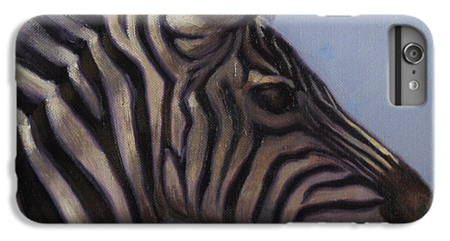 Zebra IPhone 7 Plus Case featuring the painting Quiet Profile by Greg Neal