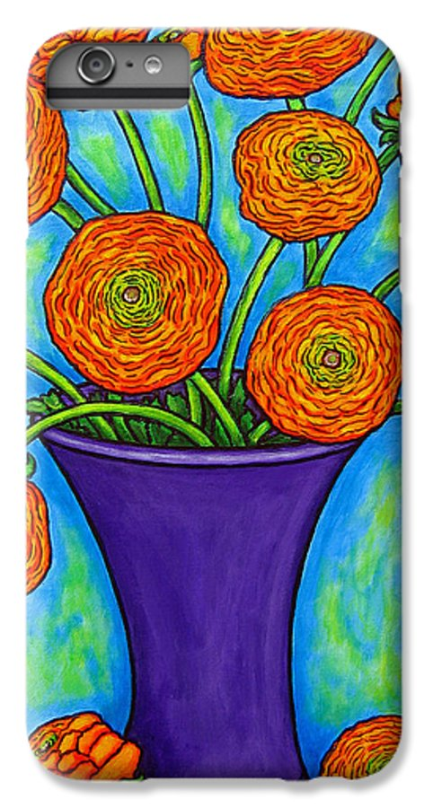 Green IPhone 7 Plus Case featuring the painting Radiant Ranunculus by Lisa Lorenz