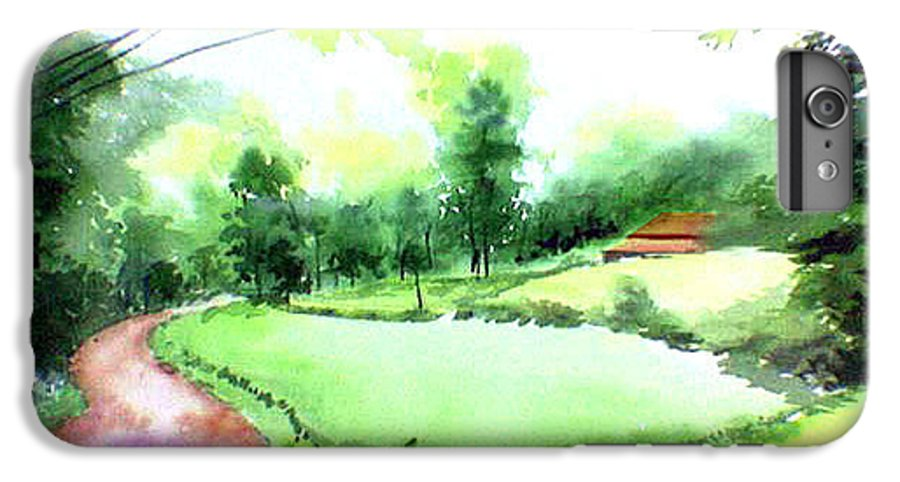 Landscape IPhone 7 Plus Case featuring the painting Rains In West by Anil Nene