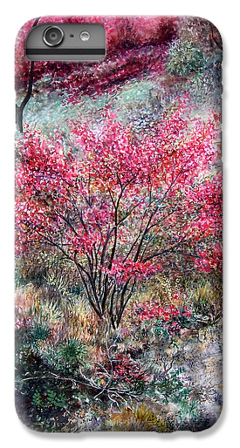 Landscape IPhone 7 Plus Case featuring the painting Red Bush by Valerie Meotti