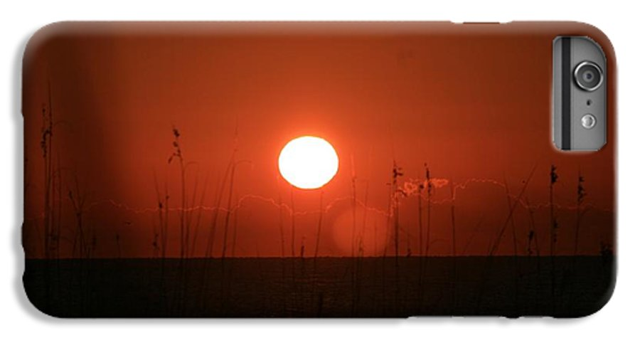 Sunset IPhone 7 Plus Case featuring the photograph Red Sunset And Grasses by Nadine Rippelmeyer