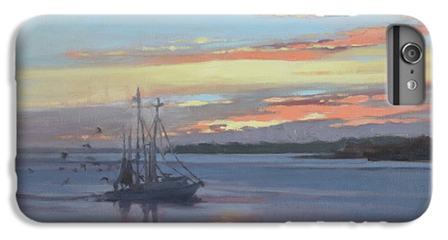 Boat IPhone 7 Plus Case featuring the painting Returning With The Catch by Todd Baxter