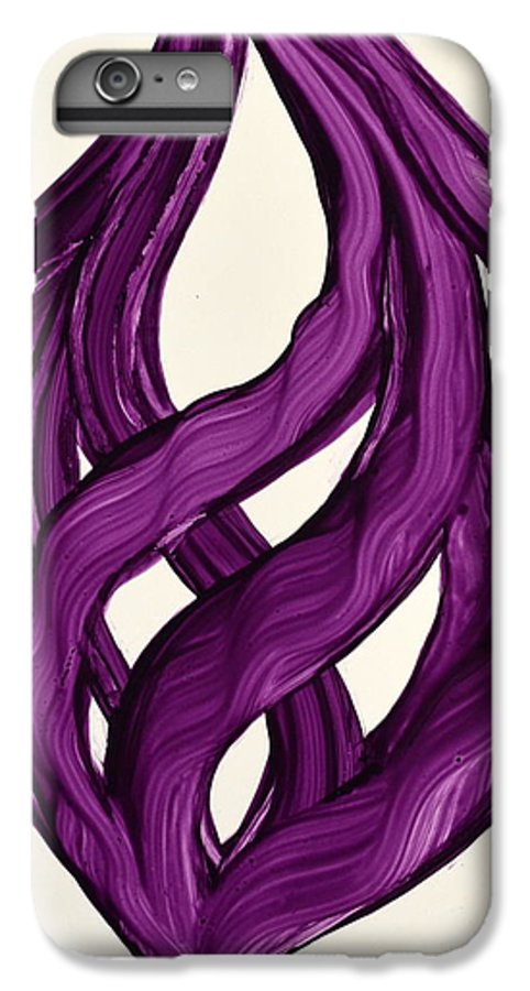 Abstract Art Yupo Comtemporary Modern Pop Romantic Vibrant IPhone 7 Plus Case featuring the painting Ribbons Of Love-violet by Manjiri Kanvinde