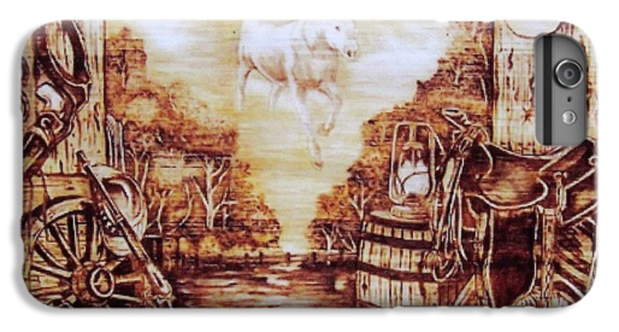 Western IPhone 7 Plus Case featuring the pyrography Riders In The Sky by Danette Smith