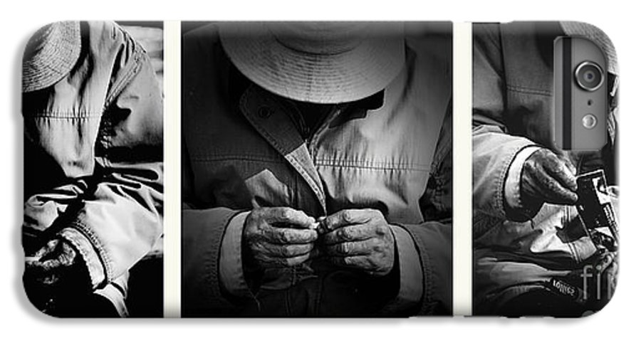 Rollup Rolling Cigarette Smoker Smoking Man Hat Monochrome IPhone 7 Plus Case featuring the photograph Rolling His Own by Sheila Smart Fine Art Photography