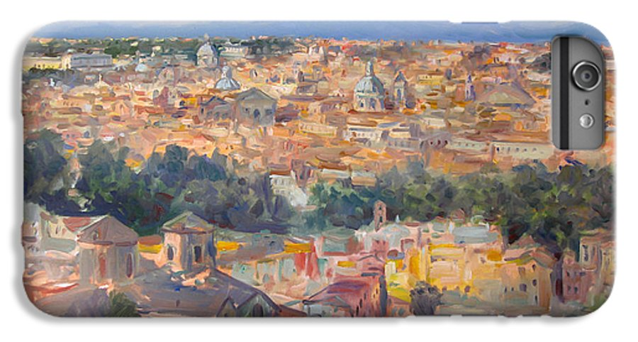 Rome IPhone 7 Plus Case featuring the painting Rome View From Gianicolo by Ylli Haruni