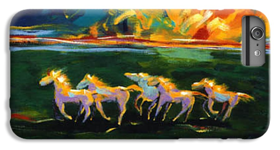 Abstract Horse IPhone 7 Plus Case featuring the painting Run From The Sun by Lance Headlee