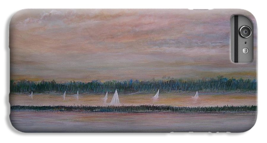 Sailboats; Marsh; Sunset IPhone 7 Plus Case featuring the painting Sails In The Sunset by Ben Kiger