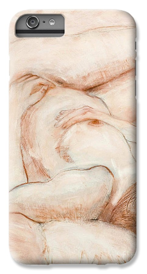 Female IPhone 7 Plus Case featuring the drawing Sanguine Nude by Kerryn Madsen-Pietsch