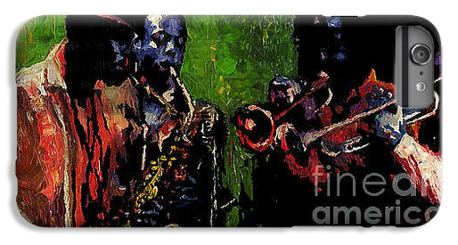 Jazz IPhone 7 Plus Case featuring the painting Saxophon Players. by Yuriy Shevchuk