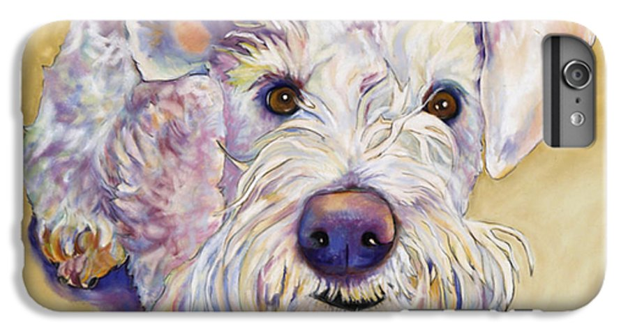Schnauzer IPhone 7 Plus Case featuring the pastel Scooter by Pat Saunders-White