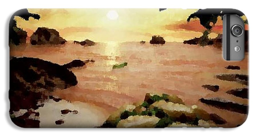 Landscape.coast.shore.trees.stones.sand.water.sunset Reflection.silence.rest.sun.sky. IPhone 7 Plus Case featuring the digital art Sea Shore.sunset by Dr Loifer Vladimir
