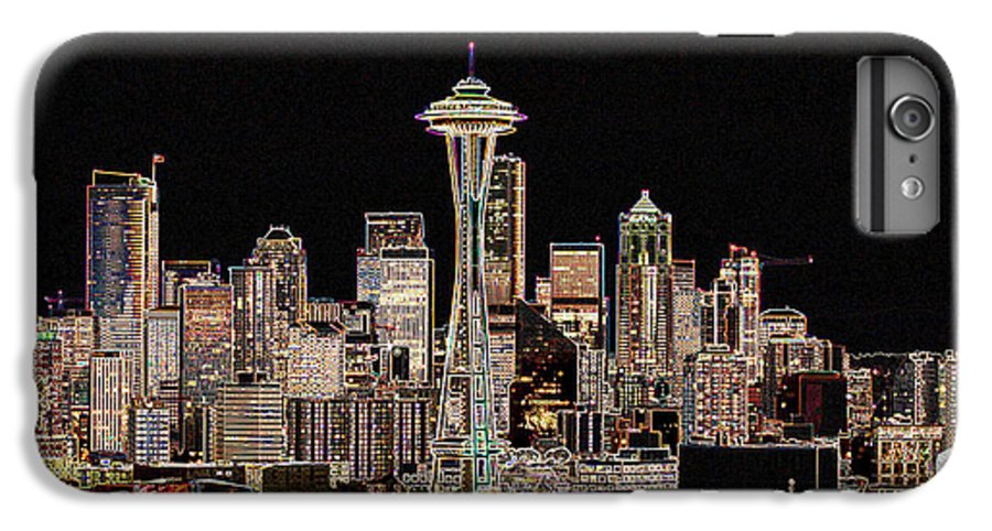 Colorful IPhone 7 Plus Case featuring the photograph Seattle A Glow by Larry Keahey