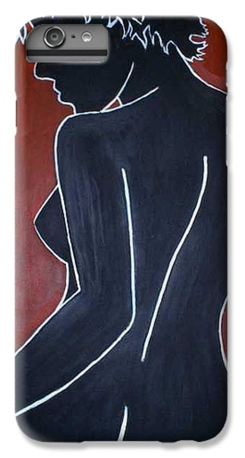 Nude IPhone 7 Plus Case featuring the painting Shadow by Thomas Valentine
