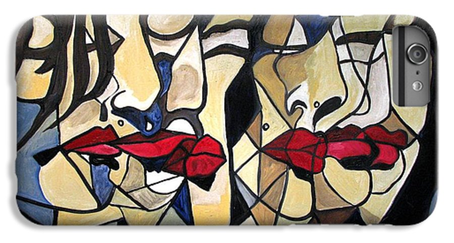 Abstract IPhone 7 Plus Case featuring the painting She Had Red Lips by Patricia Arroyo