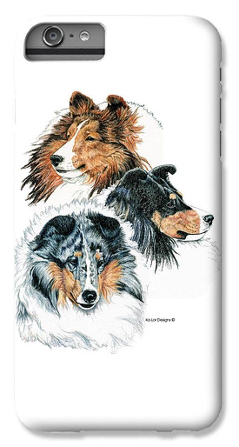 Shetland Sheepdog IPhone 7 Plus Case featuring the drawing Shetland Sheepdogs by Kathleen Sepulveda