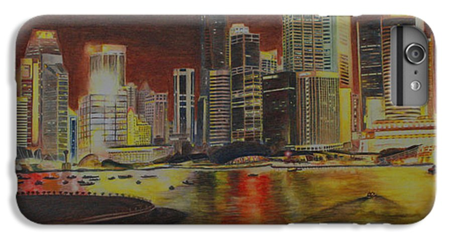 Cityscape IPhone 7 Plus Case featuring the painting Singapore Nights by Nik Helbig