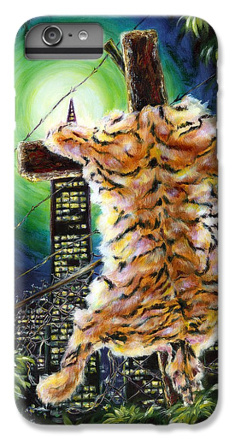 Tiger IPhone 7 Plus Case featuring the painting Slough... What I Have Left Behind The Fence To Survive In This Strange City by Hiroko Sakai