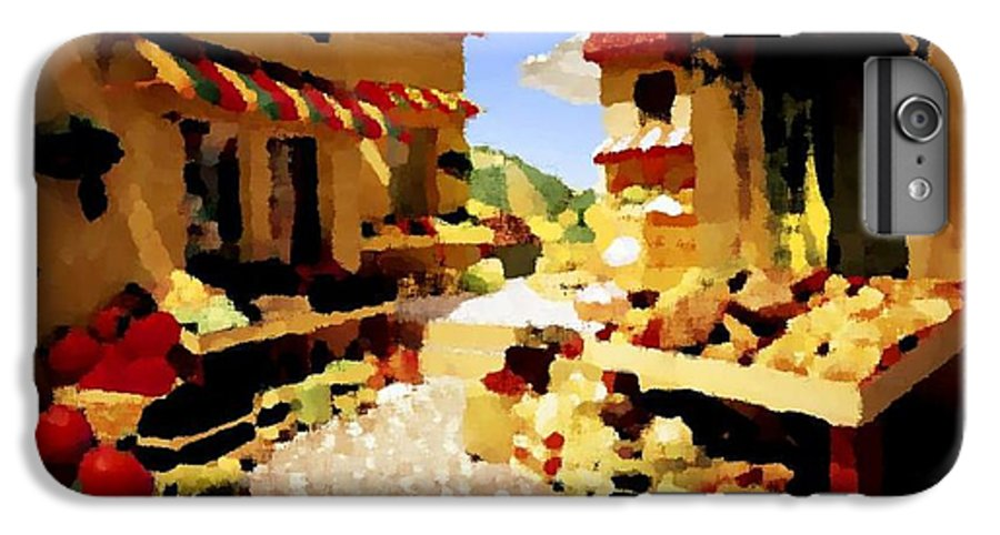 Market.town.street.road.houses.shadow.things For Sale.heat.rest.silence. IPhone 7 Plus Case featuring the digital art small urban market on Capri island by Dr Loifer Vladimir