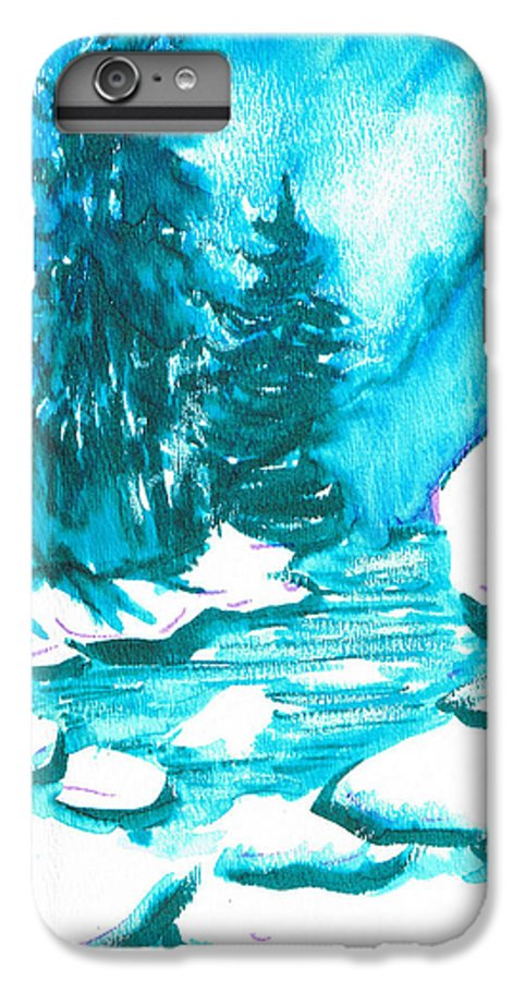 Chilling IPhone 7 Plus Case featuring the mixed media Snowy Creek Banks by Seth Weaver