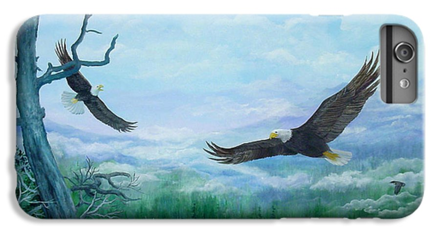 Eagles;birds;river Valley;mountains;sky; IPhone 7 Plus Case featuring the painting Soaring by Lois Mountz