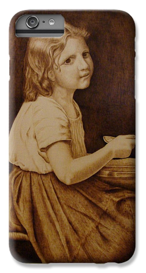Portrait; Soup; Stool; Spoon; Sepia; Skirt; IPhone 7 Plus Case featuring the pyrography Soup by Jo Schwartz