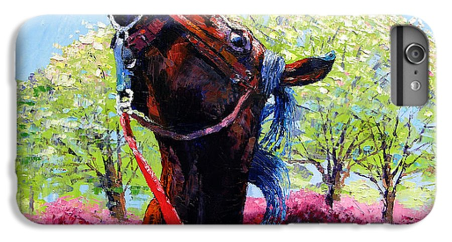 Horse IPhone 7 Plus Case featuring the painting Spring Fever by John Lautermilch