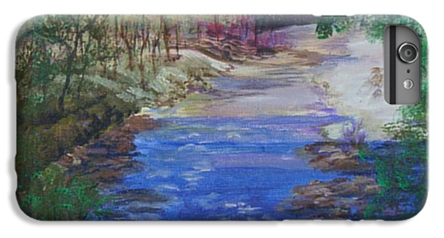 River IPhone 7 Plus Case featuring the painting Stream At Yosemite by Quwatha Valentine