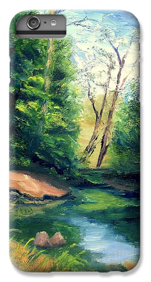 Landscape IPhone 7 Plus Case featuring the painting Summer At Storm by Gail Kirtz
