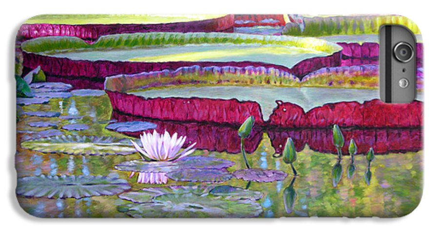 Lily Pond IPhone 7 Plus Case featuring the painting Sunlight On Lily Pads by John Lautermilch