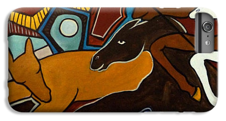 Horse Abstract IPhone 7 Plus Case featuring the painting Taffy Horses by Valerie Vescovi