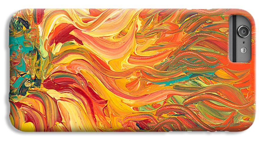 Sunjflower IPhone 7 Plus Case featuring the painting Textured Fire Sunflower by Nadine Rippelmeyer