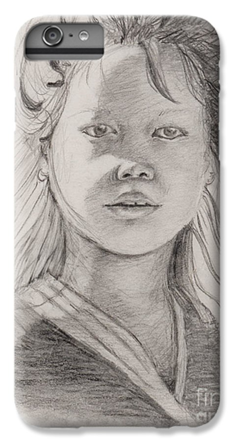 Portrait IPhone 7 Plus Case featuring the drawing Thai Beauty by Nadine Rippelmeyer
