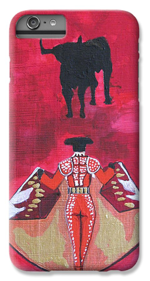 Spanish Art IPhone 7 Plus Case featuring the painting The Bull Fight No.1 by Patricia Arroyo