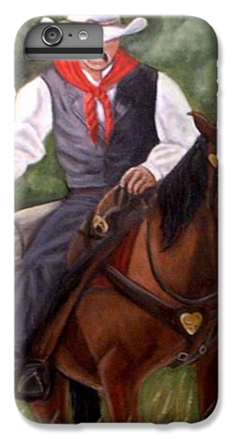 Portrait IPhone 7 Plus Case featuring the painting The Cowboy by Toni Berry