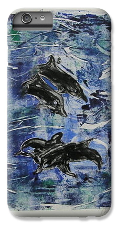 Monotype IPhone 7 Plus Case featuring the mixed media The Deep Sea by Cori Solomon