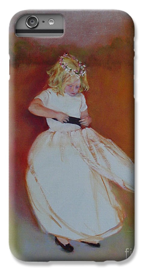 Contemporary Portrait IPhone 7 Plus Case featuring the painting The Flower Girl Copyrighted by Kathleen Hoekstra