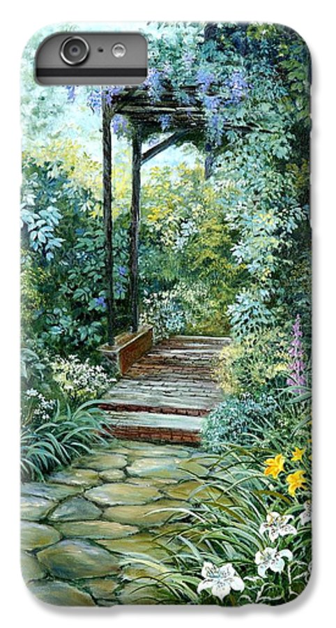 Oil Painting;wisteria;garden Path;lilies;garden;flowers;trellis;trees;stones;pergola;vines; IPhone 7 Plus Case featuring the painting The Garden Triptych Right Side by Lois Mountz