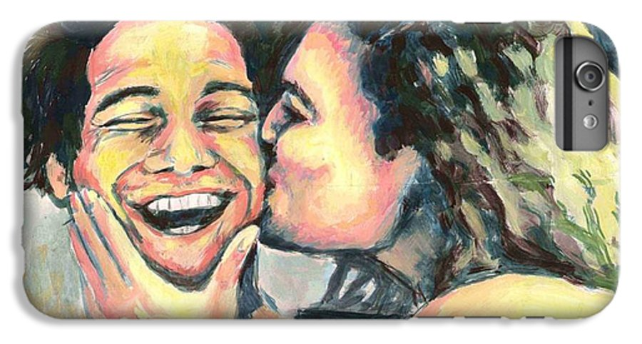 Man IPhone 7 Plus Case featuring the painting The Kiss by Nicole Zeug