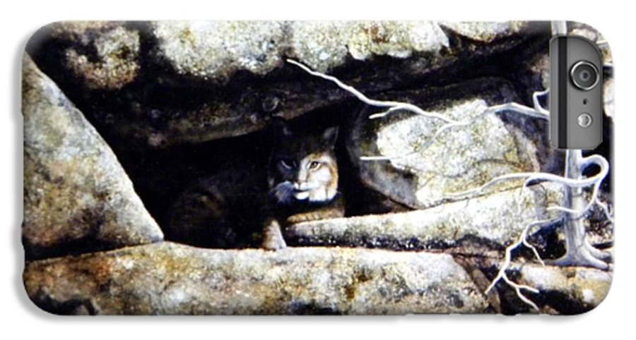 Wildlife IPhone 7 Plus Case featuring the painting The Lookout Lynx by Frank Wilson
