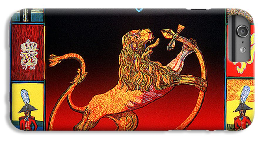 Historic IPhone 7 Plus Case featuring the mixed media The Royal Norwegian Lion by Jarle Rosseland
