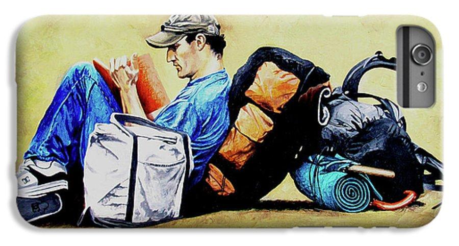 Travel IPhone 7 Plus Case featuring the painting The Traveler 2 - El Viajero 2 by Rezzan Erguvan-Onal