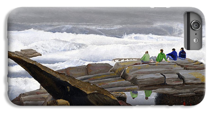 Waves IPhone 7 Plus Case featuring the painting The Wave Watchers by Dominic White