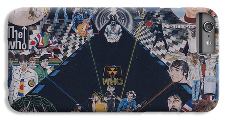 Pete Townshend;roger Daltrey;john Entwistle;keith Moon;quadrophenia;opera;story;four;music;guitars;lasers;mods;rockers;london;brighton;1964 IPhone 7 Plus Case featuring the drawing The Who - Quadrophenia by Sean Connolly