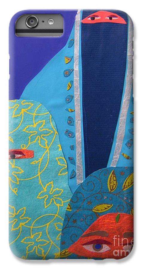 Women IPhone 7 Plus Case featuring the painting Three Women In Burkhas by Debra Bretton Robinson