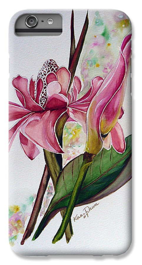 Flower Painting Floral Painting Botanical Painting Flowering Ginger. IPhone 7 Plus Case featuring the painting Torch Ginger Lily by Karin Dawn Kelshall- Best