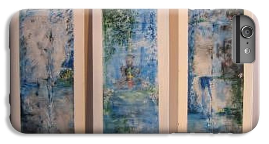 Meditation IPhone 7 Plus Case featuring the painting Triptych Spiritual Meditation by Lizzy Forrester