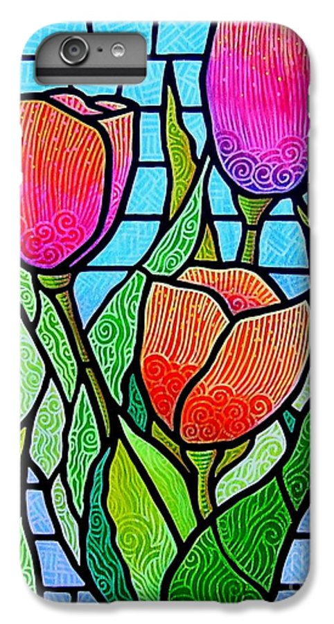 Tulips IPhone 7 Plus Case featuring the painting Tulip Garden by Jim Harris