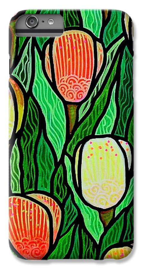 Tulips IPhone 7 Plus Case featuring the painting Tulip Joy 2 by Jim Harris